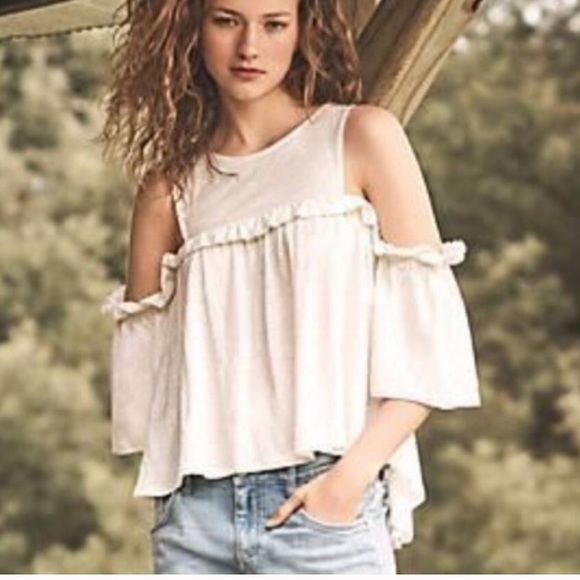 NEW White Ivory Cold Shoulder Ruffle Short Sleeves High Low Hem Long Tunic Top
